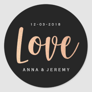 Love Rose Gold Black Wedding Sticker