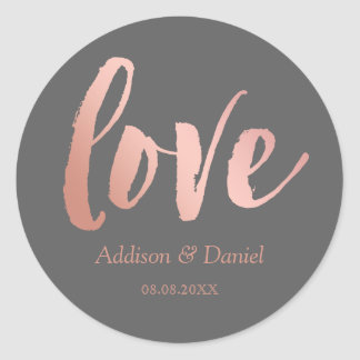 Love | Rose Gold & Gray | Custom Names & Date Classic Round Sticker