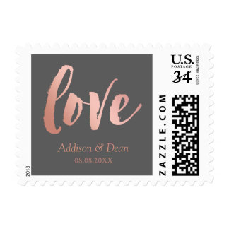 Love | Rose Gold & Gray | Custom Names & Date Postage