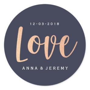 Love Rose Gold Navy Blue Wedding Sticker