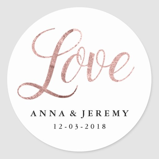 Love Rose Gold Wedding Sticker