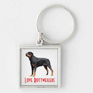 Love Rottweiler Black & Brown Puppy Dog  Keychain