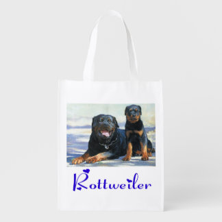 Love Rottweiler Puppy Dog Grocery Reusable Grocery Bag