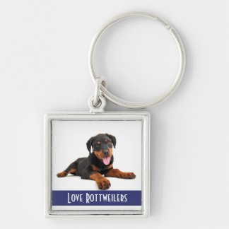 Love Rottweilers Puppy Dog on White Keychain