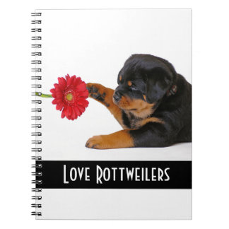 Love Rottweilers Puppy Dog with Daisy Notebook