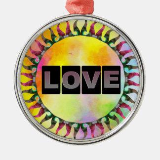 Love Round Metal Ornament