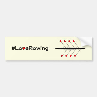 Love Rowing caption and boat Bumper Sticker