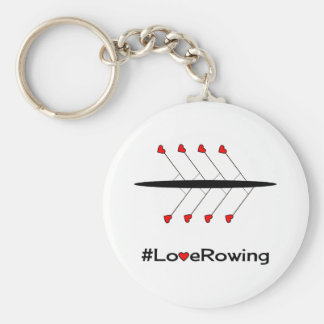 Love Rowing slogan and boat Basic Round Button Keychain