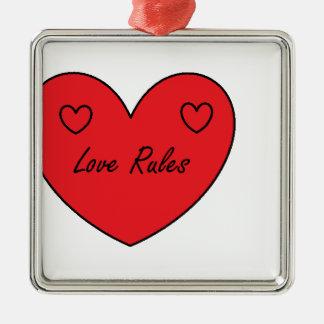 love rules range. square metal christmas ornament