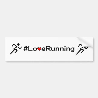 Love running slogan white car bumper sticker