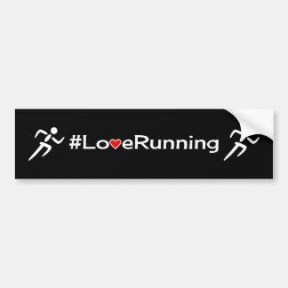 Love running slogan white on black car bumper sticker