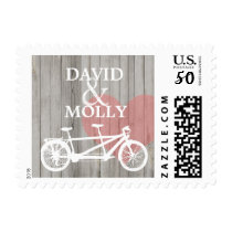 Love Rustic Wood Tandem Bike Heart Stamp