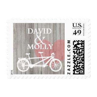 Love Rustic Wood Tandem Bike Heart Stamp