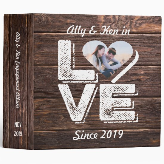 Love Rustic Woodland Photo Heart Frame Monogram Binder