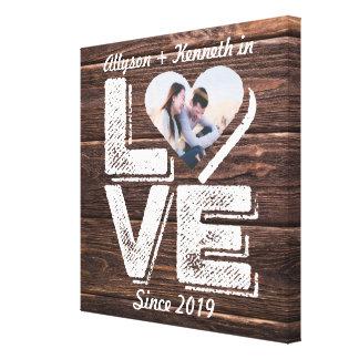 Love Rustic Woodland Photo Heart Frame Monogram Canvas Print