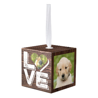 Love Rustic Woodland Photo Heart Frame Monogram Cube Ornament