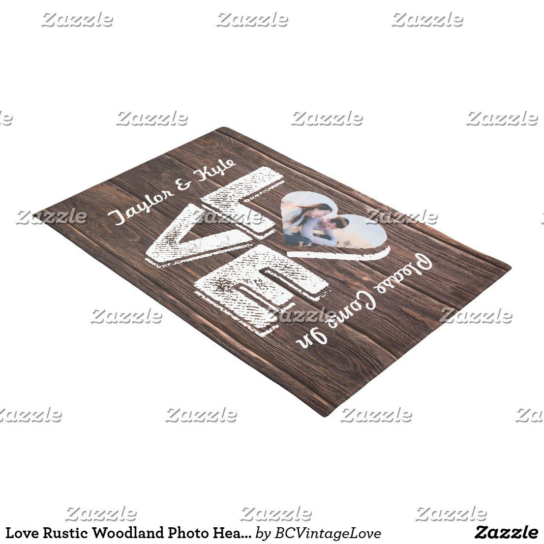 Love Rustic Woodland Photo Heart Frame Monogram Doormat