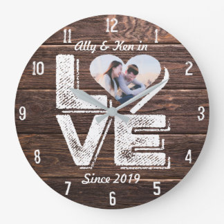 Love Rustic Woodland Photo Heart Frame Monogram Large Clock