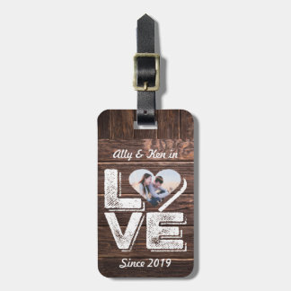 Love Rustic Woodland Photo Heart Frame Monogram Luggage Tag