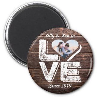 Love Rustic Woodland Photo Heart Frame Monogram Magnet