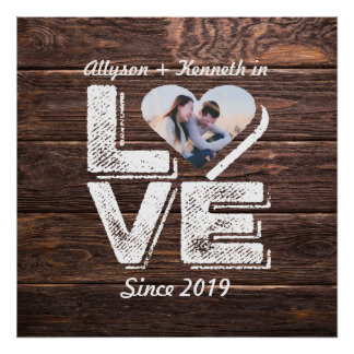 Love Rustic Woodland Photo Heart Frame Monogram Poster