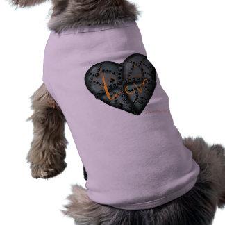Love rusty metal heart graphic art cool dog shirt