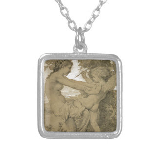 Love`s Resistance by William-Adolphe Bouguereau Square Pendant Necklace