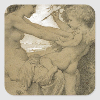 Love`s Resistance by William-Adolphe Bouguereau Square Sticker