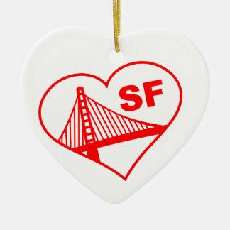 Love San Francisco Heart Double-Sided Heart Ceramic Christmas Ornament
