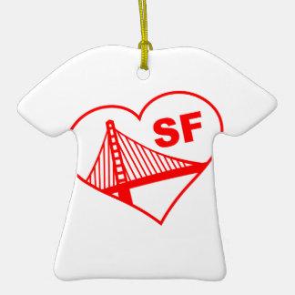 Love San Francisco Heart Double-Sided T-Shirt Ceramic Christmas Ornament