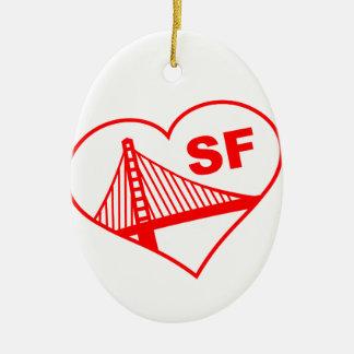 Love San Francisco Heart Double-Sided Oval Ceramic Christmas Ornament