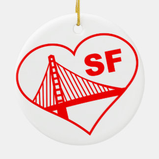 Love San Francisco Heart Double-Sided Ceramic Round Christmas Ornament