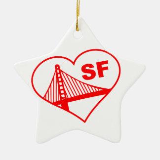 Love San Francisco Heart Double-Sided Star Ceramic Christmas Ornament