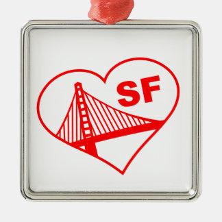 Love San Francisco Heart Square Metal Christmas Ornament