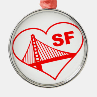 Love San Francisco Heart Round Metal Christmas Ornament