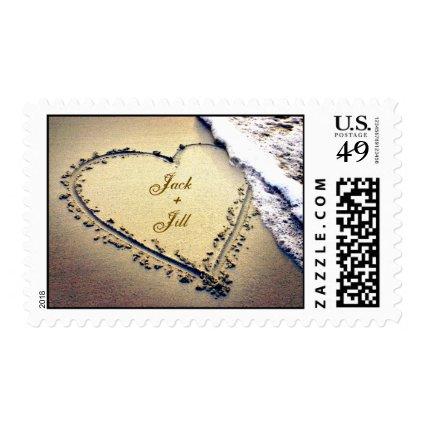 Love Sand Heart Beach Wedding Invitation Stamp