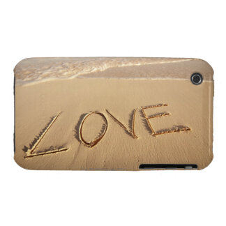 'Love' sand written on the beach with incoming iPhone 3 Cases