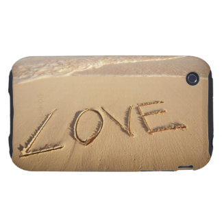 'Love' sand written on the beach with incoming iPhone 3 Tough Cover