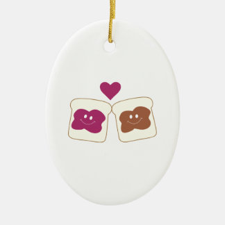 Love Sandwich Double-Sided Oval Ceramic Christmas Ornament