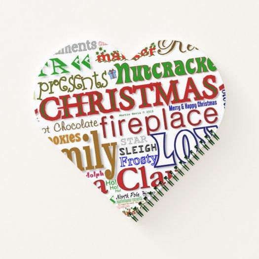 Love Santa (Heart-Shaped) Spiral Notebook