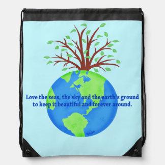 Love Save Earth Ecology Blue Environment Art Drawstring Bag