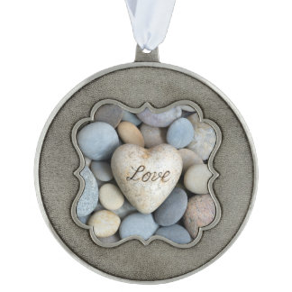 Love Scalloped Pewter Christmas Ornament