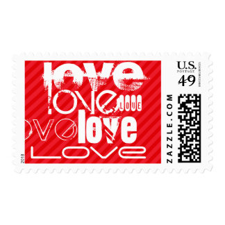 Love; Scarlet Red Stripes Postage