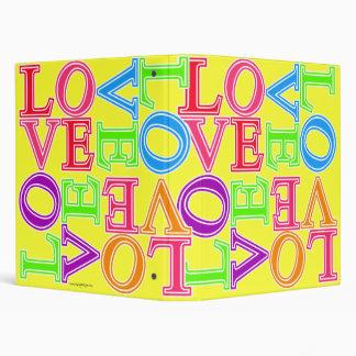 """""""LOVE"""" Scattered Rainbow Collage Pattern Vinyl Binder"""