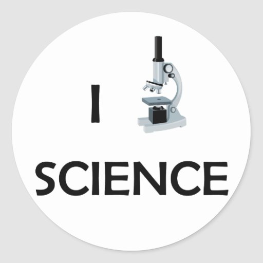 Love Science Microscope Round Stickers