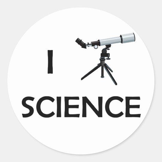 Love Science Telescope Classic Round Sticker