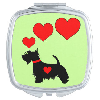 Love Scottie dog compact mirror with red hearts