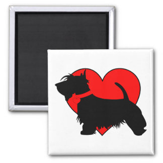 Love Scottie dog magnet with big red heart