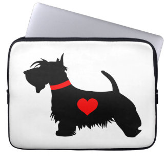 Love Scottie dog with heart neoprene laptop sleeve