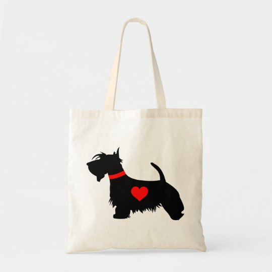 Love Scottie Dog With Heart Tote Bag